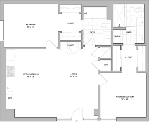 Layout of floor plan with two bedrooms and two bathrooms