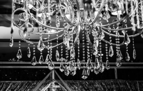 Close up of chandelier in Domain WeHo