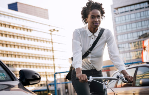 Woman commuting on bicycle